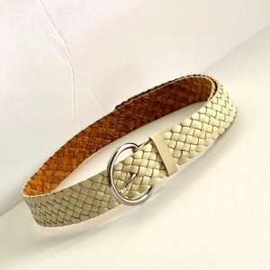 Talbots L Cream Braided Genuine Leather Belt